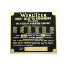 Model identification Plate Wurlitzer model 1900