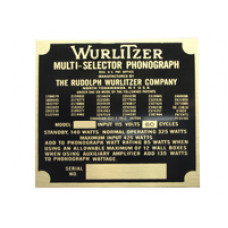 Model identification plate Wurlitzer model 2104